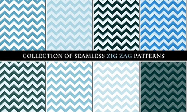 Blue colors set of vector seamless zigzag chevron pattern background.