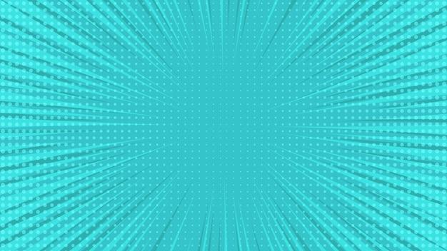 空のスペースとポップアートスタイルの青い漫画ページの背景。光線、ドット、ハーフトーン効果のテクスチャを含むテンプレート。ベクトルイラスト