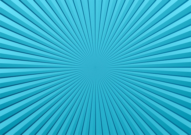サンバーストと青い漫画のポップアートの背景