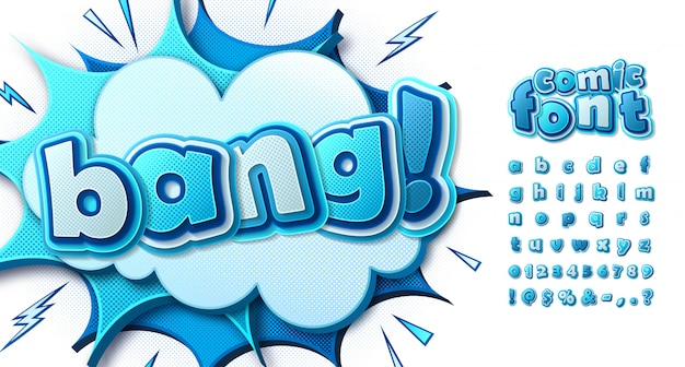 Blue comics font, multilayer alphabet in style of pop art. letters on comic book page with speech bubbles and explosions