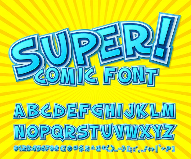 青いコミックフォント。黄色の背景にポップなアートスタイルの多層漫画アルファベット。