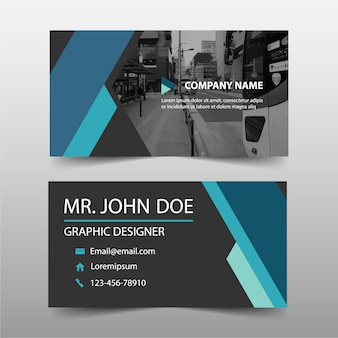 Blue commercial business card