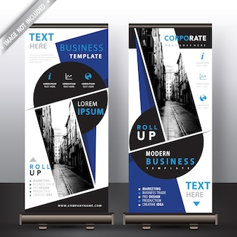 Blue commercial roll up banners