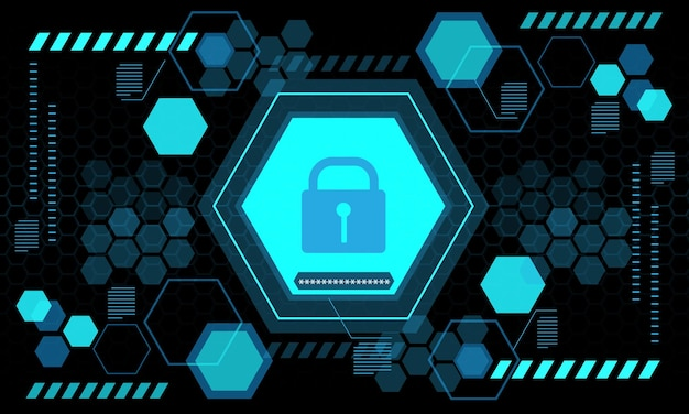 Blue computer security display screen hexagon geometric black design futuristic technology vector