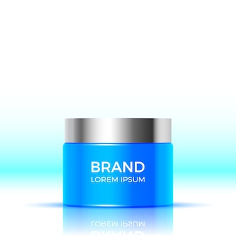 Blue container of face cream. package  cosmetic products.  illustration.