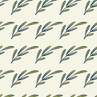 Бесшовный ботанический узор синих контурных зеленых ветвей.