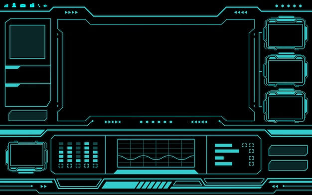 Blue control panel abstract technology futuristic interface hud on black background.