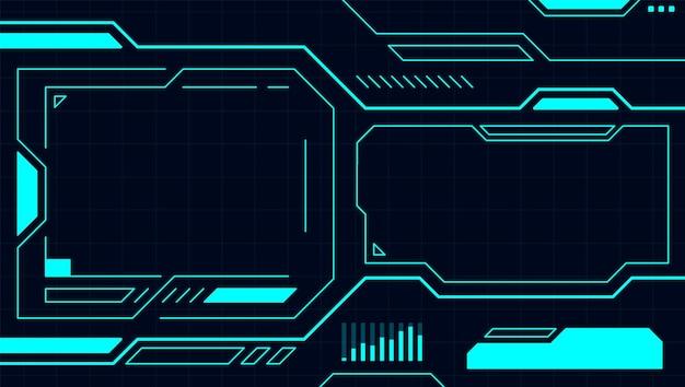 Синяя панель управления абстрактной технологии интерфейса hud на черном фоне векторных дизайнов