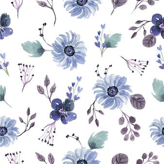 青いクールな冬に咲く花の水彩画のシームレスパターン