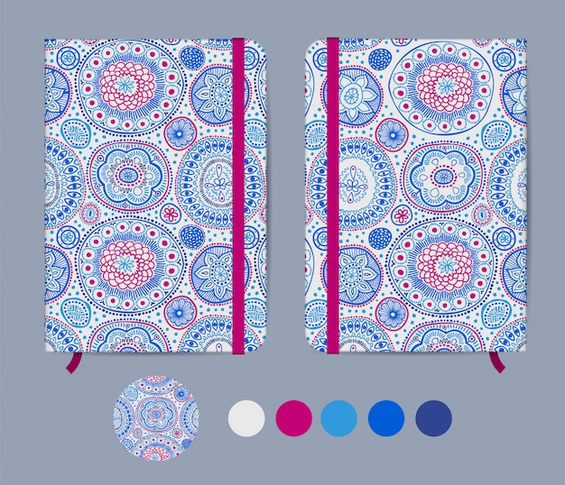 Blue copybook template with elastic band and bookmark with abstract design