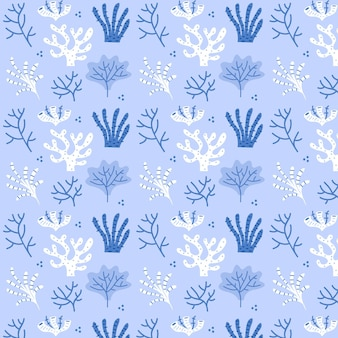 Blue coral pattern template with seaweed