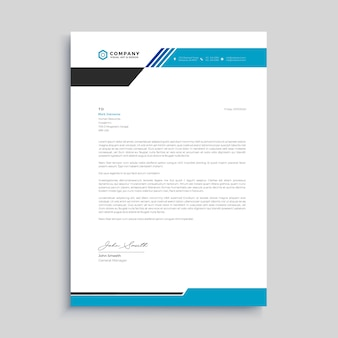 Blue corporate abstract letterhead