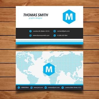 青色の企業のビジネスカードテンプレート