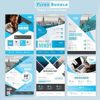 Blue corporate flyer bundle brochure template