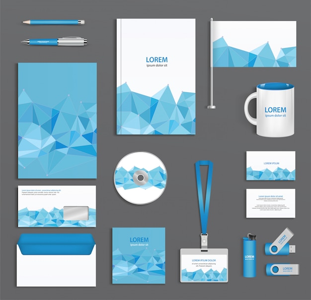 Blue corporate id template  with triangular faces, company style, abstract of design elements.