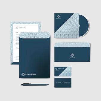 青い企業の文房具のテンプレート