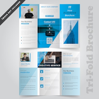 Blue corporate tri fold brochure template
