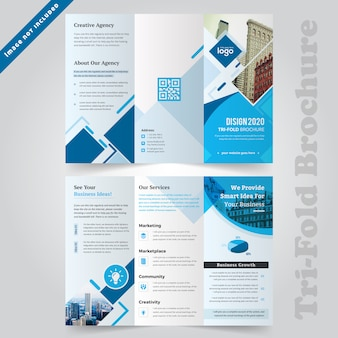 Blue corporate trifold brochure template