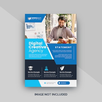 Blue corporate vector flyer template