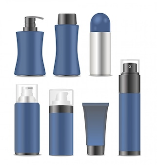 Blue cosmetic containers for man