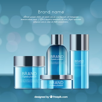 Blue cosmetics background