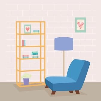 居間のシーンの青いソファ