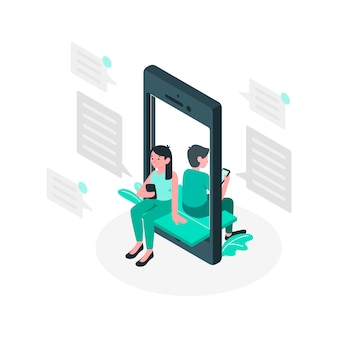 Blue couple chatting through mobile phone isometric style