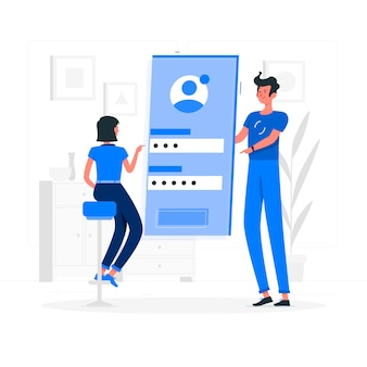 Blue couple loging into their profile flat style