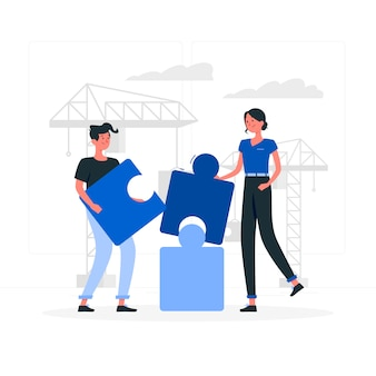 Blue couple making puzzle flat style