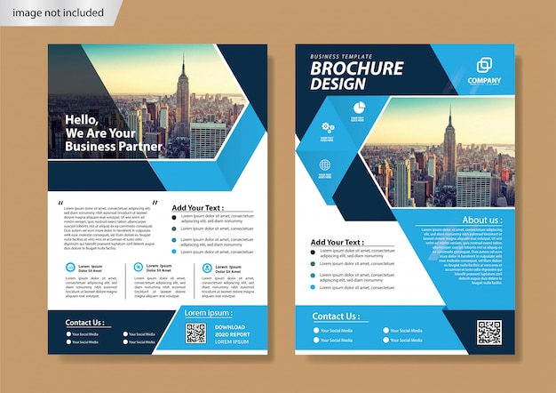 Blue cover flyer and brochure template for annual report
