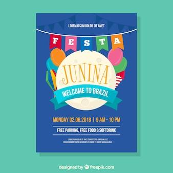 Blue cover template for festa junina