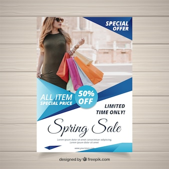 Blue cover template for spring sales