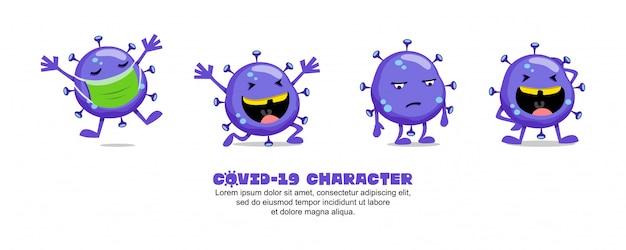 ブルーコビッド-19。コロナウイルスの漫画のインスピレーションのデザイン。マスク、幸せ、悲しい、そして笑い