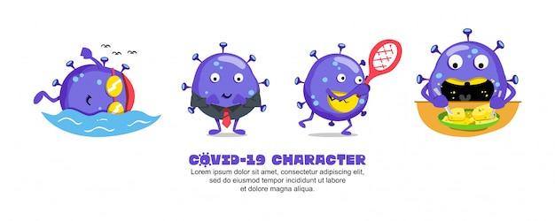 ブルーコビッド-19。コロナウイルスの漫画のインスピレーションのデザイン。水泳、ビジネス、テニス、餌