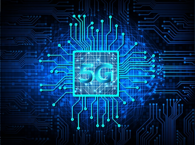 Blue cpu 5g cyber circuit future technology concept background