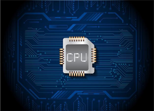 Синий процессор кибер цепи будущей технологии концепции фон