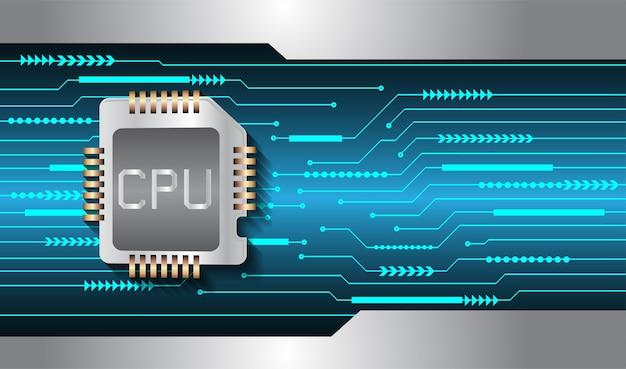 青いcpuサイバー回路の将来の技術概念の背景