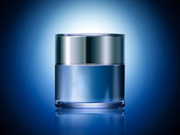 青いクリーム色の瓶、イラストで使用するための空白の化粧品容器テンプレート、輝く青い背景