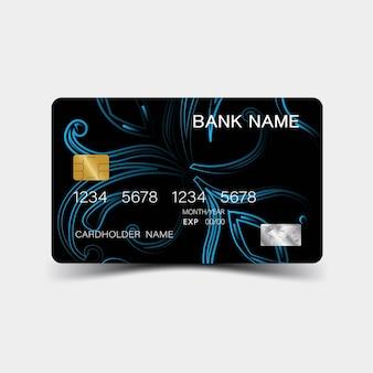 青いクレジットカードのデザイン