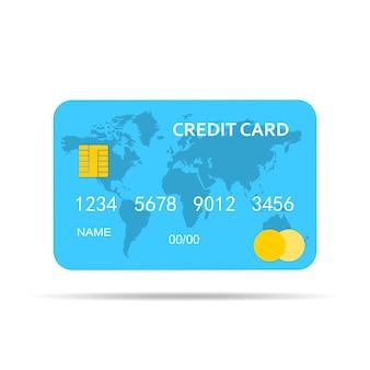 Синяя кредитная карта изолированных иллюстрация