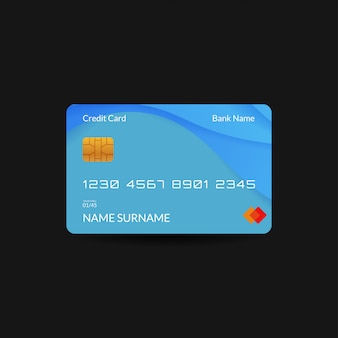 Blue credit card template with gradient wave and editable text