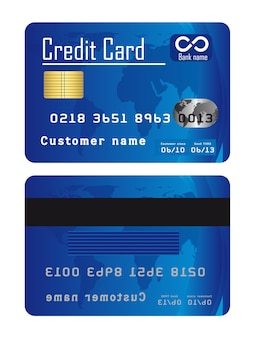 Blue credit cards isolated over white background vector