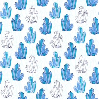 Blue crystals seamless pattern. minerals rocks hand drawn. vector fashion background