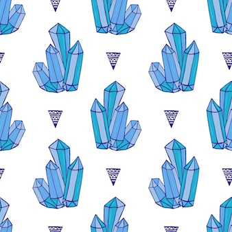 Blue crystals seamless pattern. minerals rocks hand drawn. vector fashion