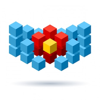 Blue cubes logo with red segments