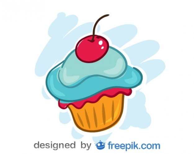 Blue cupcake with a cherry on the top