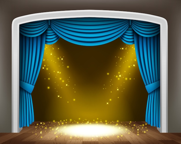 Blue curtain of classical theater