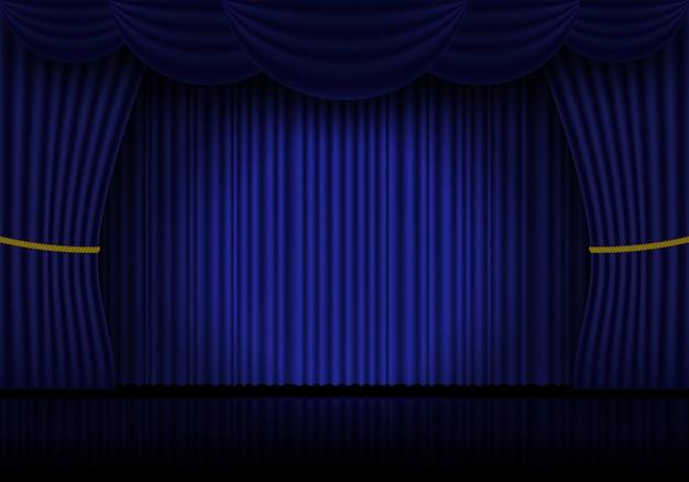 青いカーテンオペラ、映画館または劇場の舞台ドレープ。閉じたベルベットのカーテンの背景にスポットライトを当てます。ベクトルイラスト