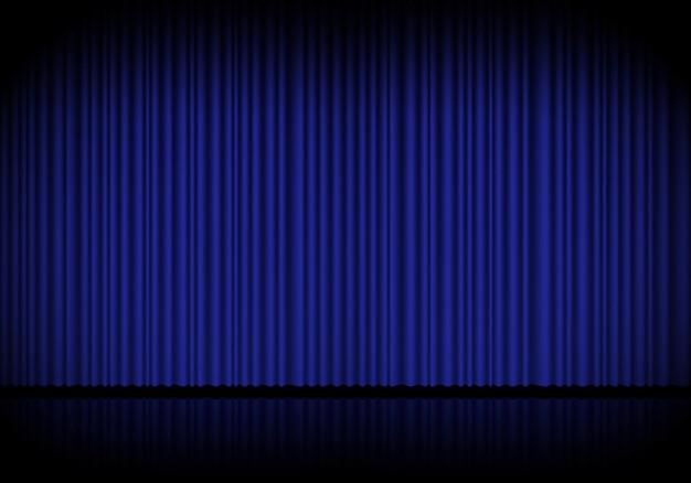 Голубой занавес для оперы, кино или театральной сцены. в центре внимания на закрытом фоне бархатных шторы. векторная иллюстрация Premium векторы