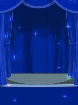 무대에 파란 커튼입니다. 열린 커튼이 있는 서커스 또는 극장 빈 무대, 콘서트 홀이 있는 만화 벡터 배경 또는 배경, 스탠드업 클럽, 빛나는 마법의 불꽃이 있는 음악 공연 빈 무대